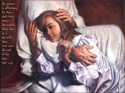 Jesus holding woman